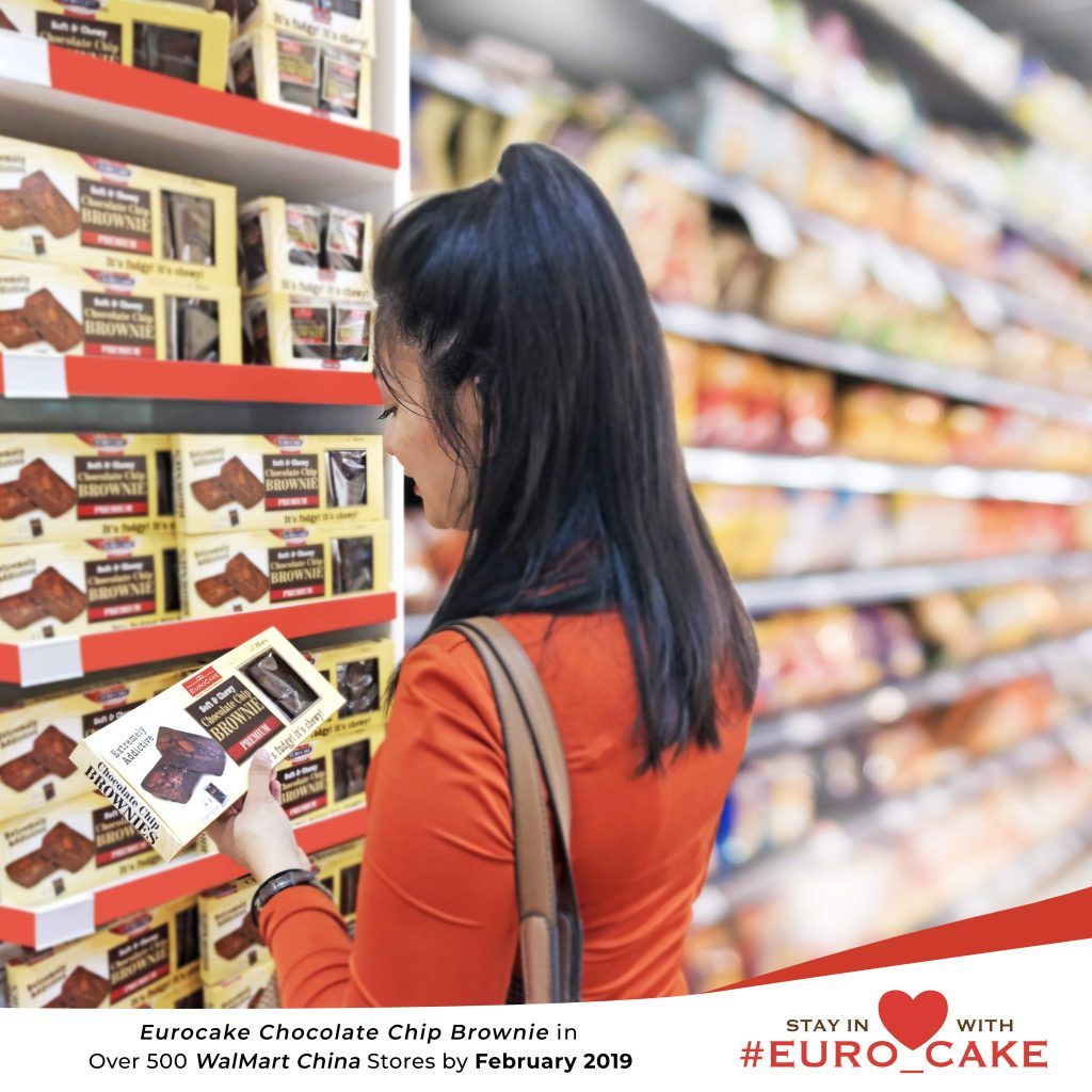 Eurocake Chocolate Chip Brownie in Over 500 Wal-Mart China Stores by February 2019
